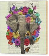 Elephant With Colorful Flowers Illustration Wood Print