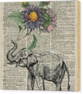 Elephant With Flowers Wood Print
