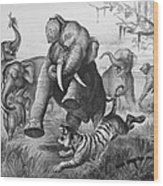 Elephants And Tiger, 1890 Wood Print