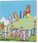 Elephants And Urns On A Hill Wood Print