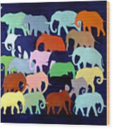 Elephants Going And Coming Wood Print
