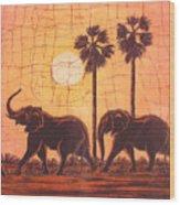 Elephants In Dry Heat Wood Print