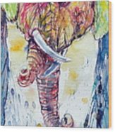 Elephants In Love Wood Print