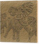 Elephants Three Wood Print