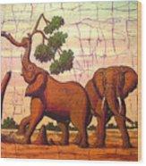 Elephants View Wood Print