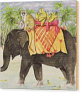Elephants With Bananas Wood Print