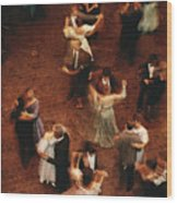 Elevated View Of Ballroom Dancers Wood Print