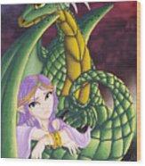 Elf Girl And Dragon Wood Print