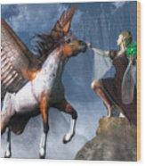 Elf Summoning A Pegasus Wood Print