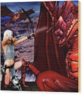 Elf Vs Dragon Wood Print
