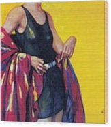 Elida Cremes In Sonne Und See - Woman In Swimsuit - Vintage Advertising Poster Wood Print
