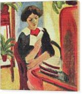 Elisabeth At Her Desk 2 By August Macke Wood Print
