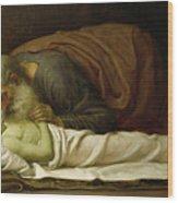 Elisha Raising The Son Of The Shunamite Wood Print by Frederic Leighton