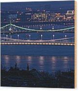 Elizabeth And Liberty Bridges Budapest Wood Print
