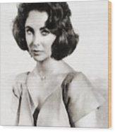 Elizabeth Taylor, Vintage Hollywood Legend By John Springfield Wood Print