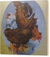 Elizabeth's Chickens Wood Print