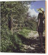 Eliza's Walk In The Countryside. Wood Print
