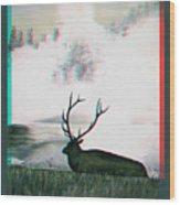 Elk - Use Red-cyan 3d Glasses Wood Print
