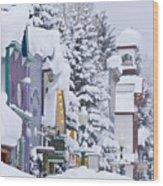 Elk Avenue Snow Wood Print