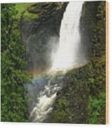 Elk Creek Falls Rainbow Wood Print