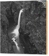 Elk Falls In The Canyon Black And White Wood Print