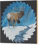 Elk In Snow Wood Print