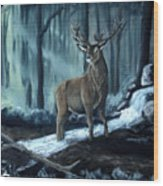 Elk In The Morning Wood Print