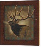 Elk Lodge Wood Print by JQ Licensing