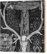 Elk Skull In Black And White Wood Print