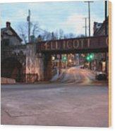 Ellicott City Nights - Entrance To Main Street Wood Print