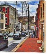 Ellicott City Sidewalk Wood Print