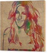 Ellie Goulding Watercolor Portrait Wood Print