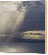 Elliott Bay Storm Clouds Ferry Wood Print