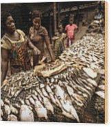 Elmina Fish Sellers Wood Print