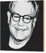 Elton John Black and White Wood Print