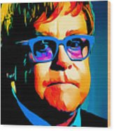 Elton John Blue Eyes Portrait Wood Print
