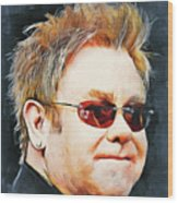 Elton john classic portrait Wood Print
