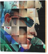 Elton John in Cubes 1 Wood Print