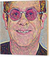 Elton John Triangles Portrait Wood Print