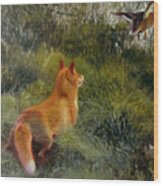 Eluding The Fox Wood Print