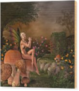 Elven Beautiful Woman With Flute Wood Print