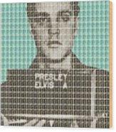 Elvis Army Mug Shot - Blue Wood Print