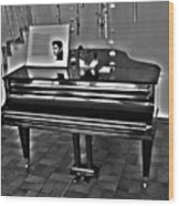 Elvis And The Black Piano ... Wood Print