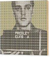 Elvis Army Mug Shot - Gold Wood Print
