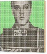 Elvis Army Mug Shot - Green Wood Print
