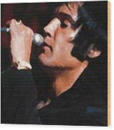 Elvis Black Wood Print