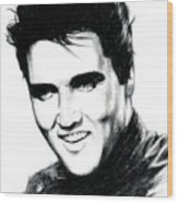 Elvis Wood Print by Lin Petershagen