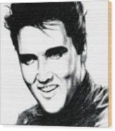 Elvis Wood Print by Lin Petershagen