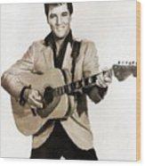 Elvis Presley By Mb Wood Print