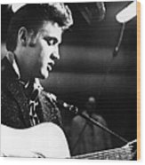 Elvis Presley, Recording In The Studio Wood Print by Everett